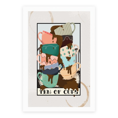 Ten Of Cups (Coffee) Tarot Card Poster