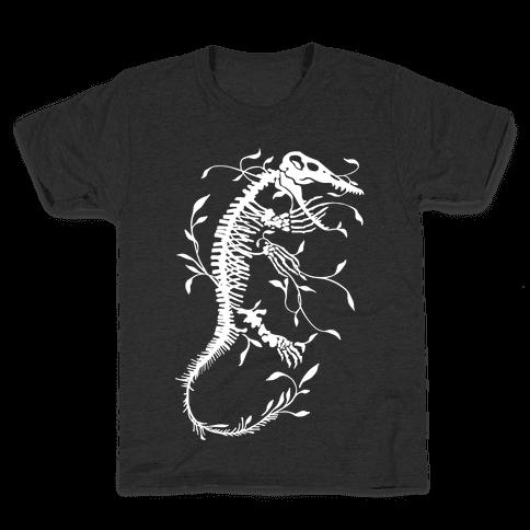 Floral Dinosaur Mosasaur Kids T-Shirt