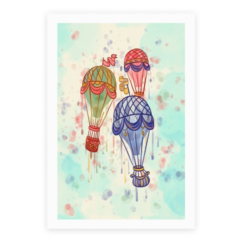 Watercolor Balloon Trip Poster