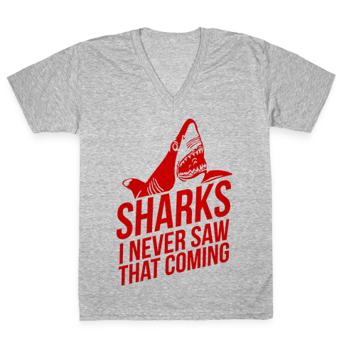 Sharks! V-Neck Tee Shirt