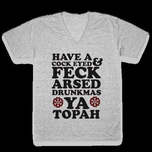 Feckarsed Drunkmas V-Neck Tee Shirt
