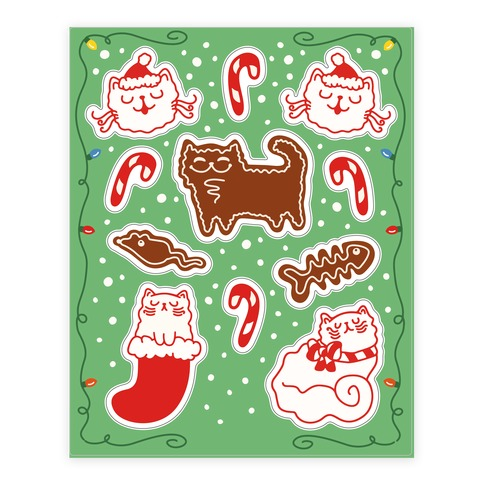 Meowy Christmas Sticker and Decal Sheet