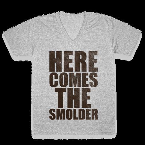 Here Comes The Smolder V-Neck Tee Shirt