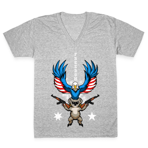 Ameristralia: TASTE THE FREEDOM (Text) V-Neck Tee Shirt