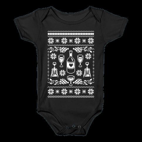 Ugly Wine Christmas Sweater Baby Onesy