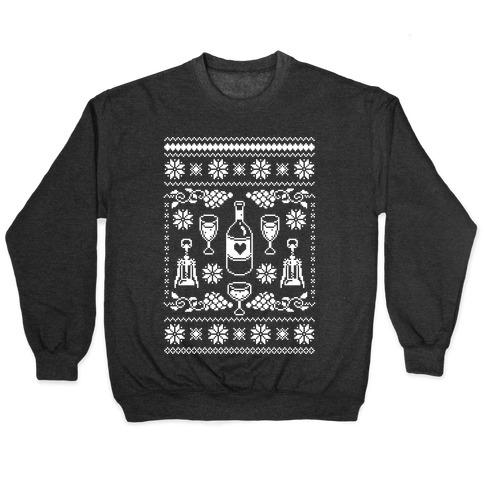 Wine Christmas Sweater.Ugly Wine Christmas Sweater Crewneck Sweatshirt Lookhuman