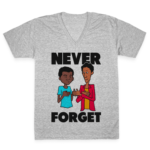Never Forget (Troy & Abed) V-Neck Tee Shirt