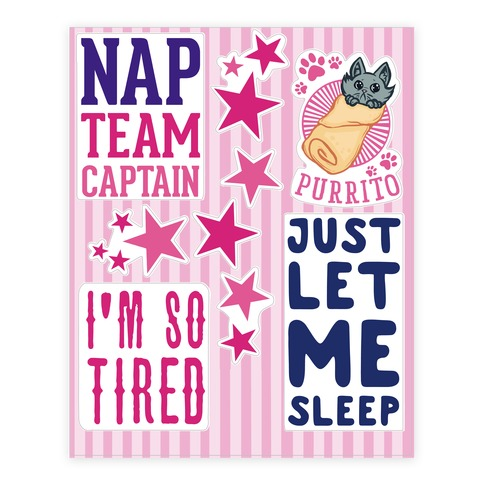 Sleepy Sticker and Decal Sheet