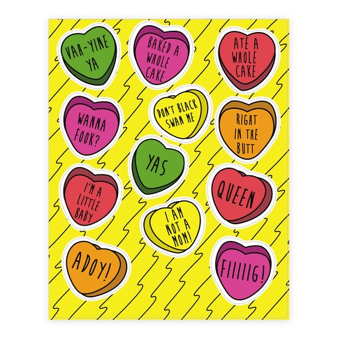 Ilana and Abbi Quotes Conversation Heart Sticker and Decal Sheet