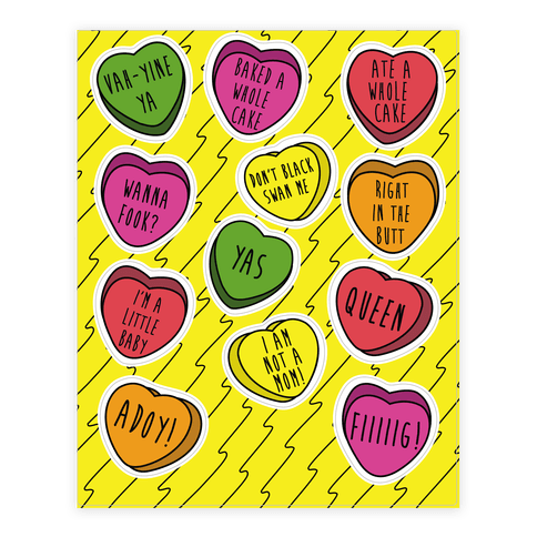 Ilana and Abbi Quotes Conversation Heart  Sticker/Decal Sheet