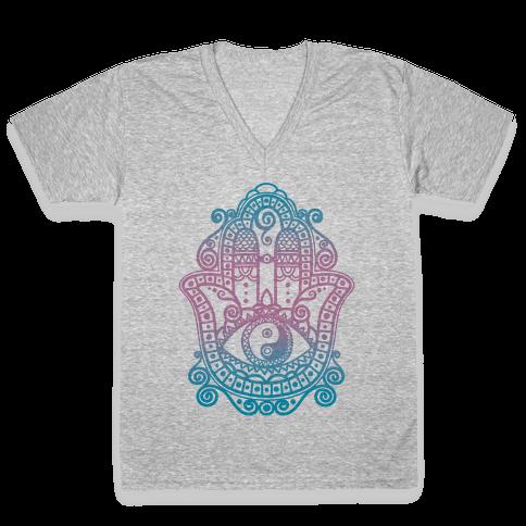 Peaceful Hamsa Hand V-Neck Tee Shirt