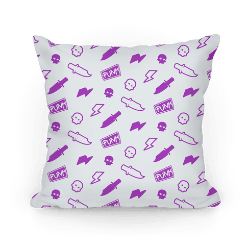 Purple Rebel Punk Pattern Pillow