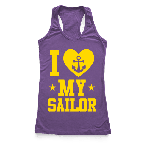 I Love My Sailor Racerback Tank Top