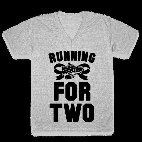 Running for Two V-Neck Tee Shirt