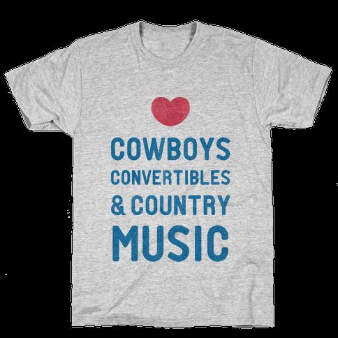 Cowboys Convertibles & Country Music (My Loves) Mens T-Shirt