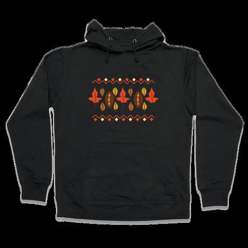 Football Fall Pattern Hooded Sweatshirt