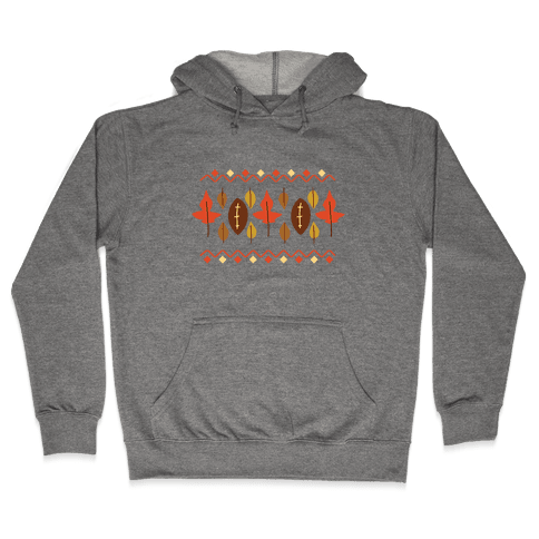 Football Fall Pattern Hooded Sweatshirt