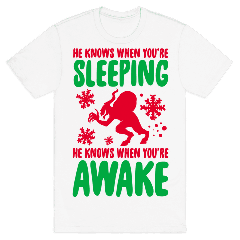 He Knows When You are Sleeping (Krampus) Mens T-Shirt