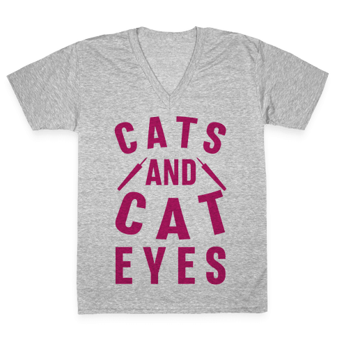 Cats and Cat Eyes V-Neck Tee Shirt