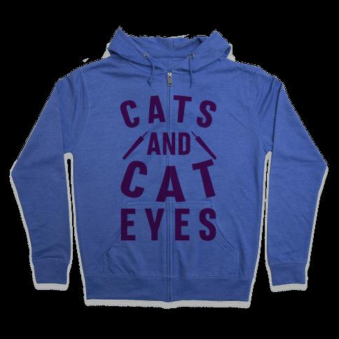 Cats and Cat Eyes Zip Hoodie