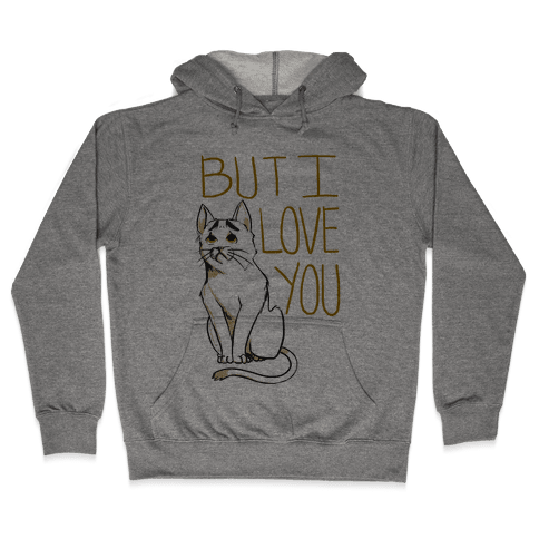 Eyebrows Cat- I love you! Hooded Sweatshirt