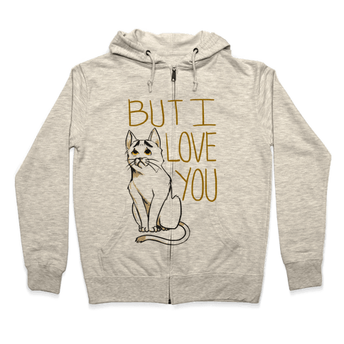 Eyebrows Cat- I love you! Zip Hoodie