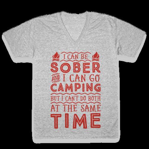 Sober Camping V-Neck Tee Shirt