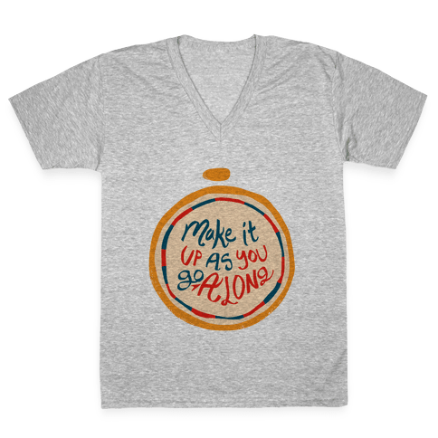 Make it Up as You Go Along Life Compass V-Neck Tee Shirt