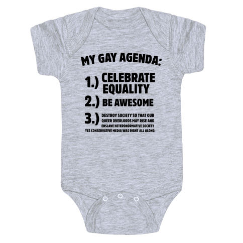 My Gay Agenda Baby Onesy