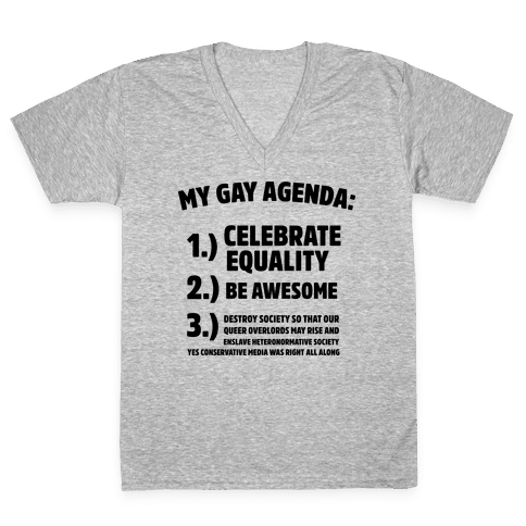 My Gay Agenda V-Neck Tee Shirt