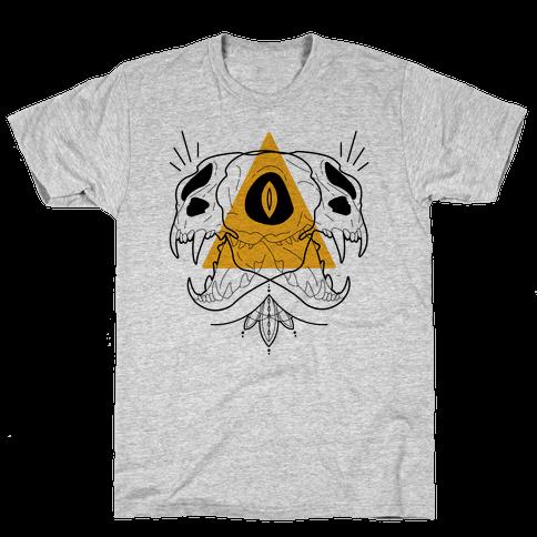 Double Cat Skulls Mens T-Shirt