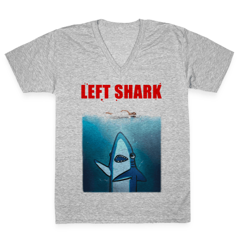 Left Shark Jaws Parody V-Neck Tee Shirt