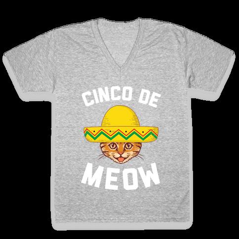 Cinco De Meow V-Neck Tee Shirt