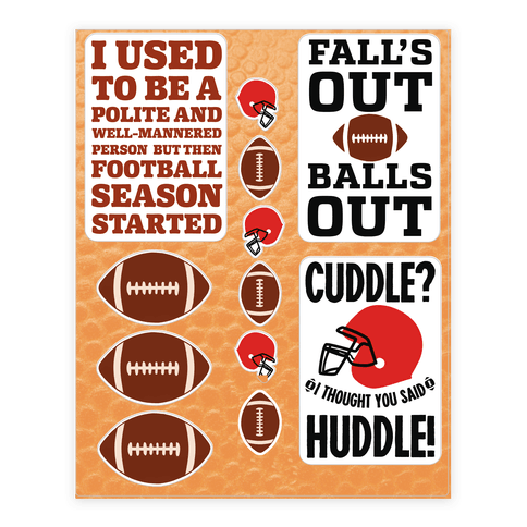 Football Season  Sticker/Decal Sheet