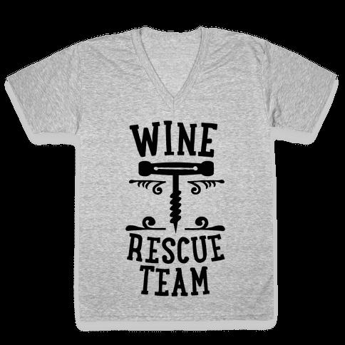 Wine Rescue Team V-Neck Tee Shirt