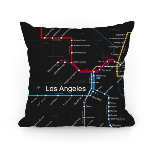 Los Angeles Transit Map Pillow