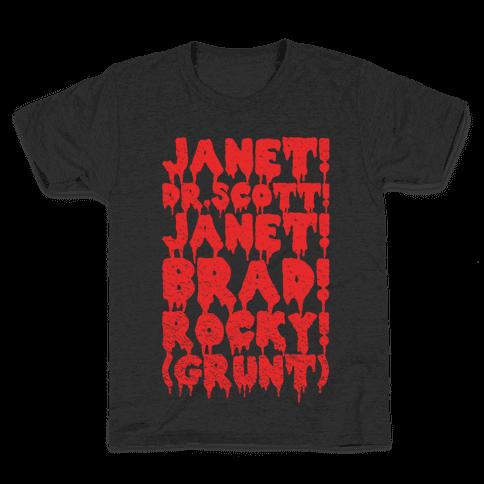 Janet, Dr. Scott, Janet, Brad, Rocky! Kids T-Shirt