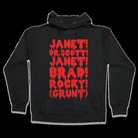 Janet, Dr. Scott, Janet, Brad, Rocky! Hooded Sweatshirt