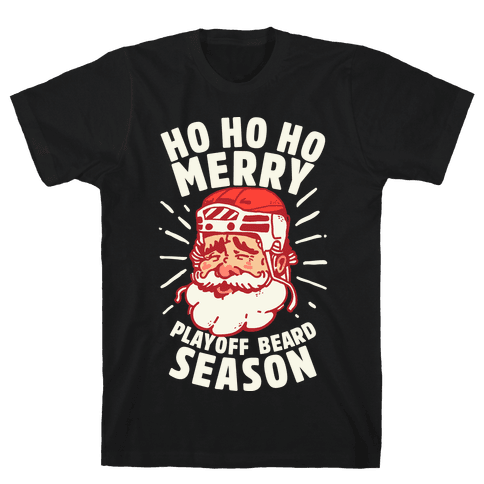 Merry Playoff Beard Season Mens T-Shirt
