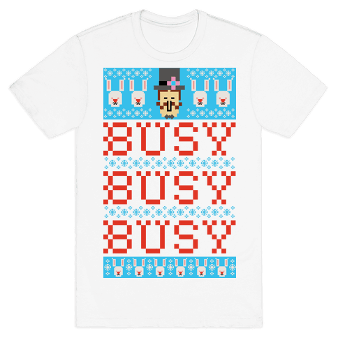 Busy Busy Busy Frosty Ugly Sweater Mens T-Shirt