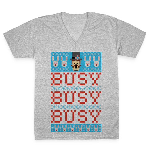 Busy Busy Busy Frosty Ugly Sweater V-Neck Tee Shirt