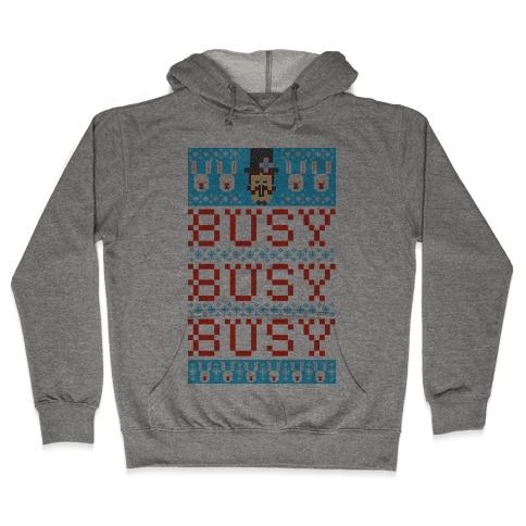 Busy Busy Busy Frosty Ugly Sweater Hooded Sweatshirt