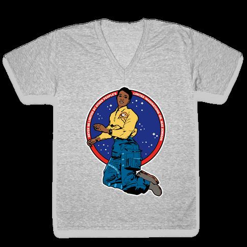 Dr. Mae Jemison Astronaut V-Neck Tee Shirt