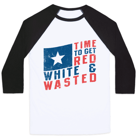Red White And Wasted (Vintage Tank) Baseball Tee
