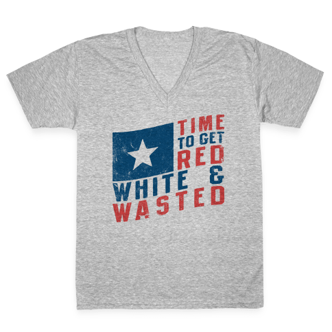 Red White And Wasted (Vintage Tank) V-Neck Tee Shirt