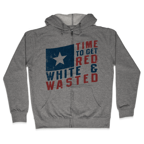 Red White And Wasted (Vintage Tank) Zip Hoodie