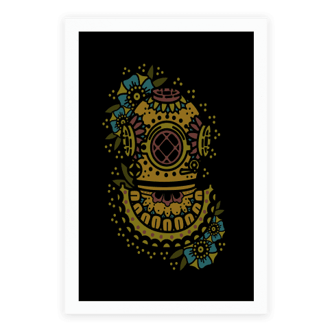 Floral Diving Helmet Poster