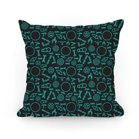 Bike Parts Pattern Pillow