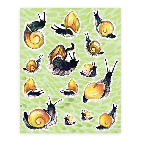 Golden Snail Shells Sticker and Decal Sheet