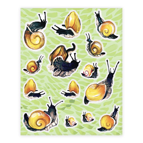 Golden Snail Shells  Sticker/Decal Sheet